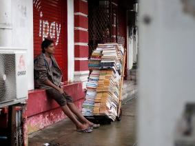 A book vendor in Yangon